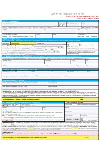 tumour test requisition form