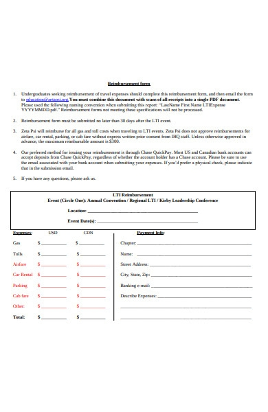 undergraduate reimbursement form