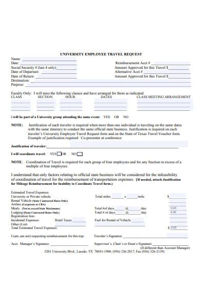 university employee travel request form