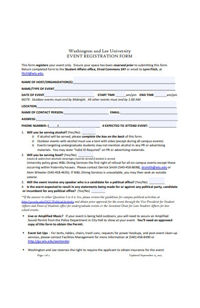 university event registration form