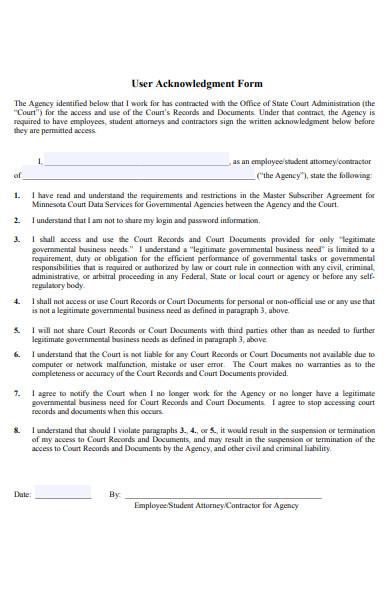 user acknowledgement form