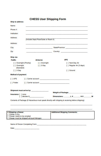 user shipping form
