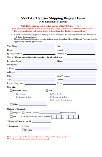 user shipping request form