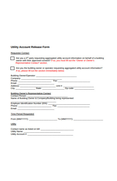utility account release form