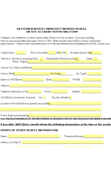 vehicle accident form