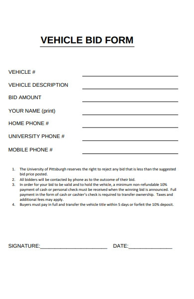 vehicle bid form