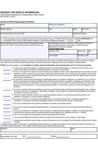 vehicle information form