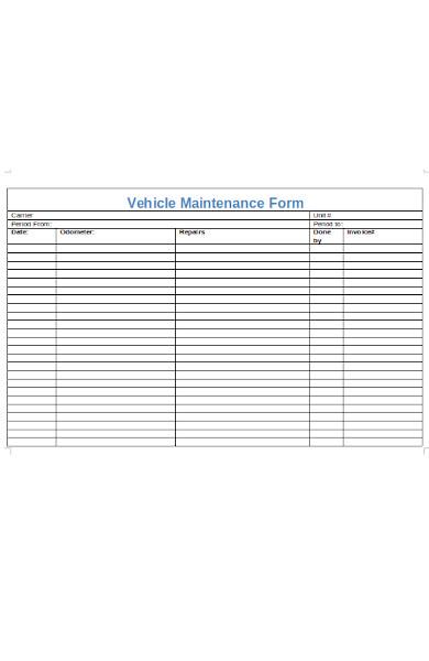 vehicle maintenance form