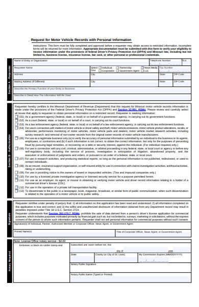 vehicle records personal information form