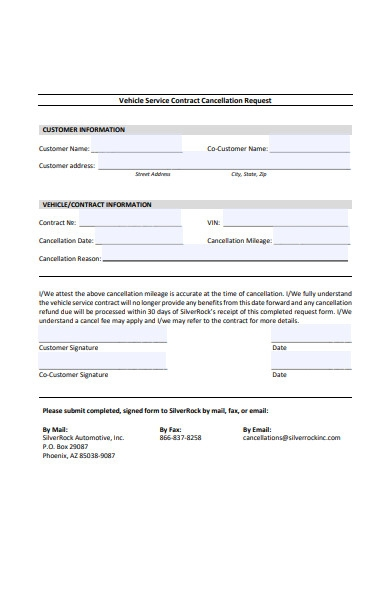 vehicle service contract cancellation form