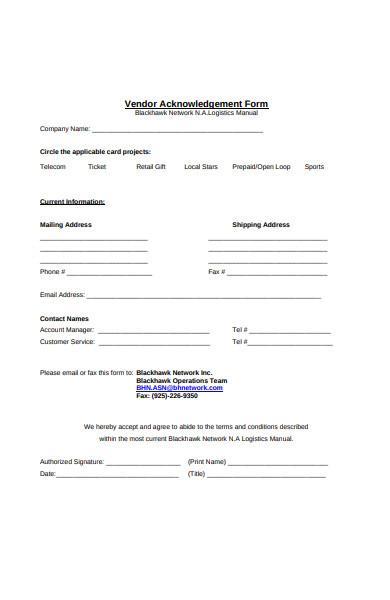vendor acknowledgement form