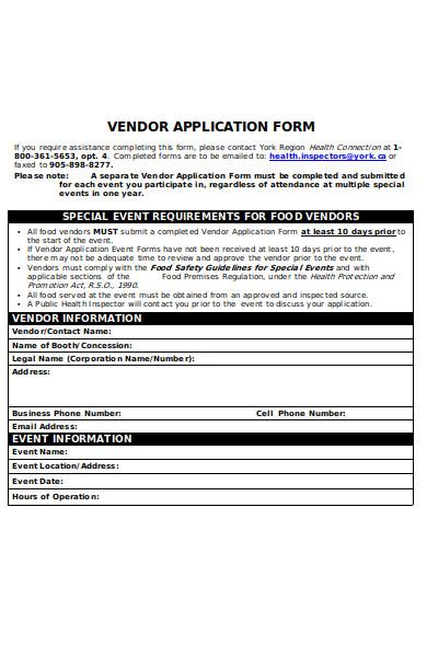 vendor event form