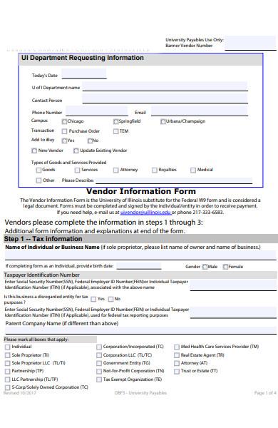 vendor information form