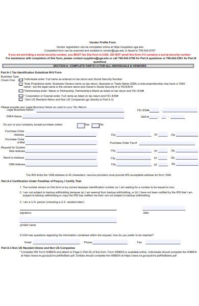 vendor profile form