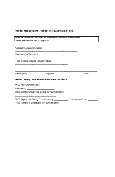 vendor qualification form