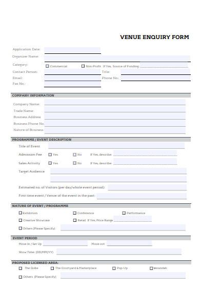 venue enquiry form