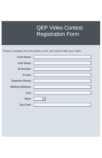 video contest registration form