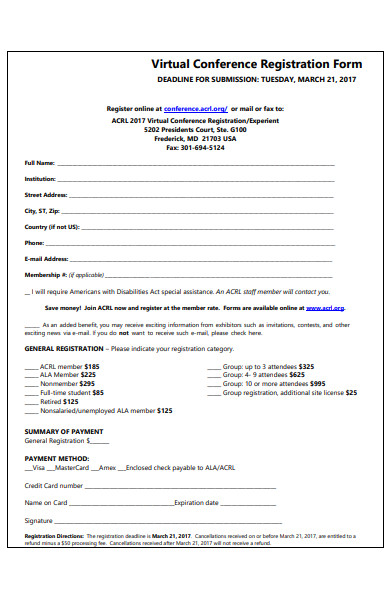virtual conference registration form