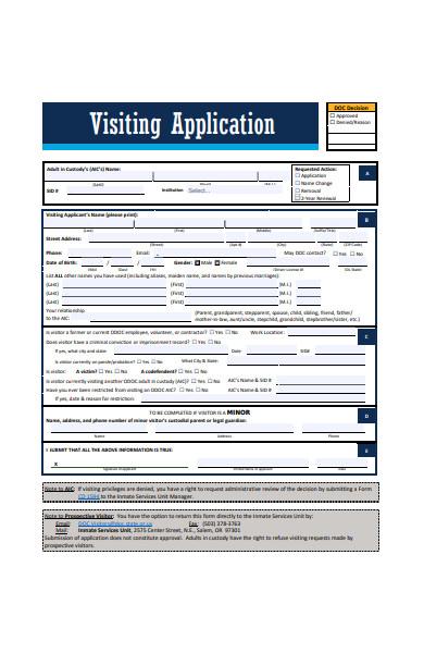 visiting application form