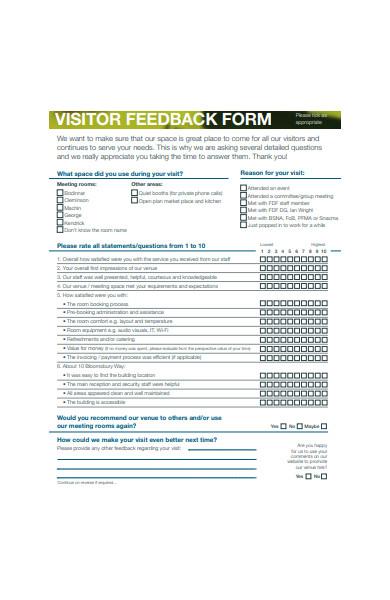 visitor feedback form in pdf