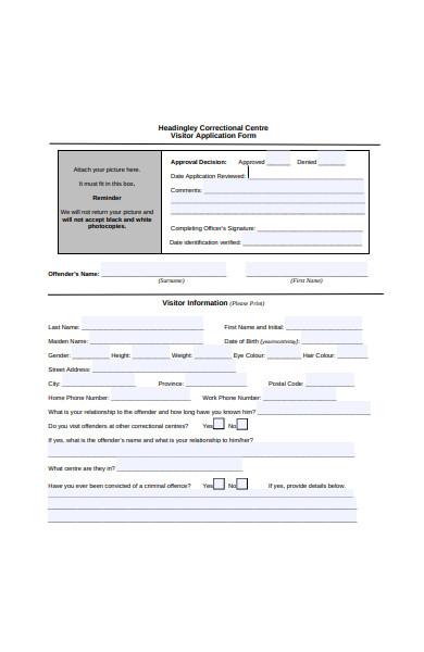 visitor visa application form sample