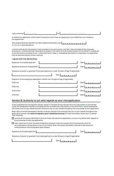 visitor visa declaration form