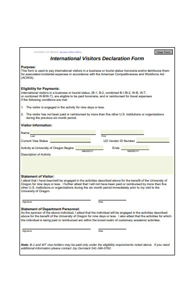 visitors declaration form