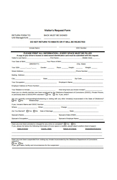 visitors request form
