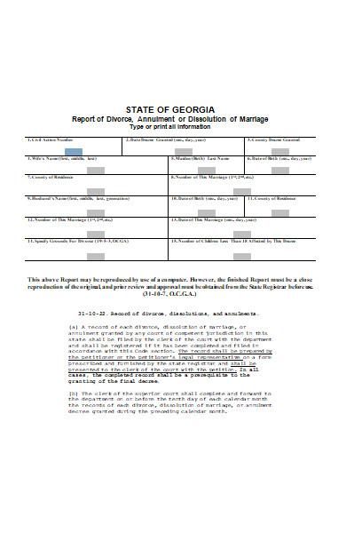 vital records divorce form