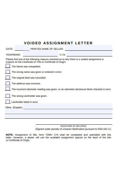 voided assignment letter form