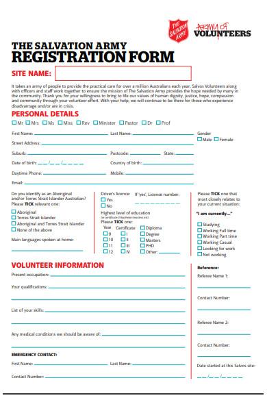 volunteer army registration form
