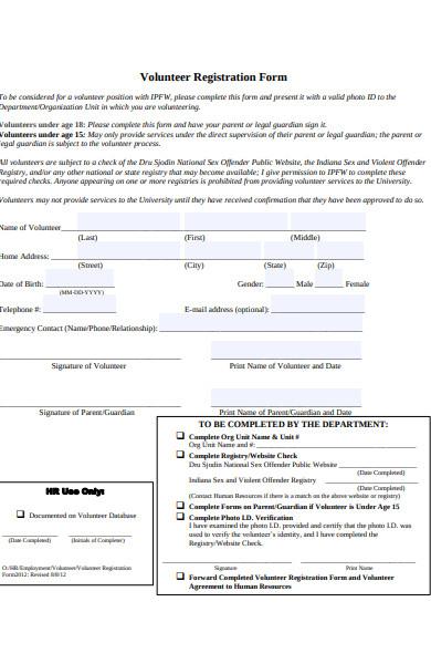 volunteer registration form sample