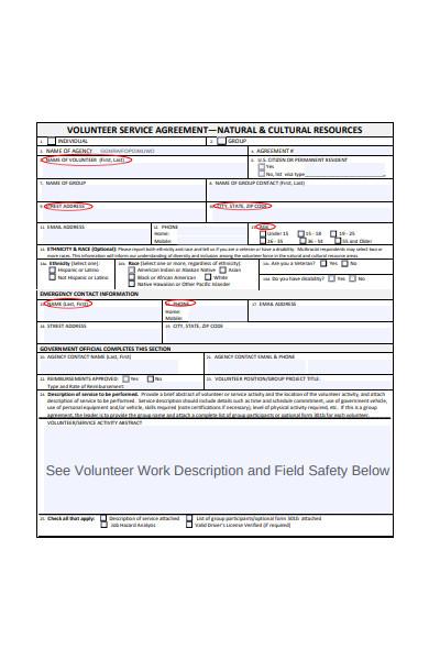 volunteer service agreement form