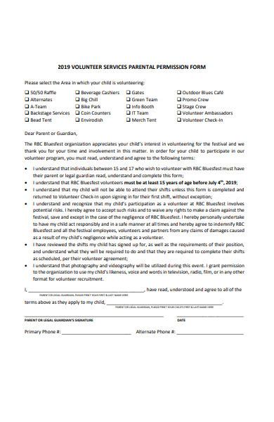 volunteer services permission form