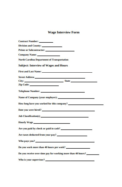 wage interview form