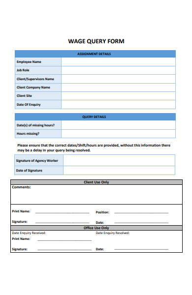 wage query form