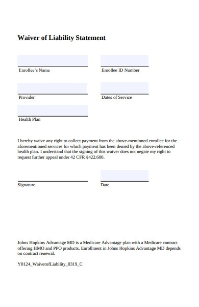 waiver of liability statement form1