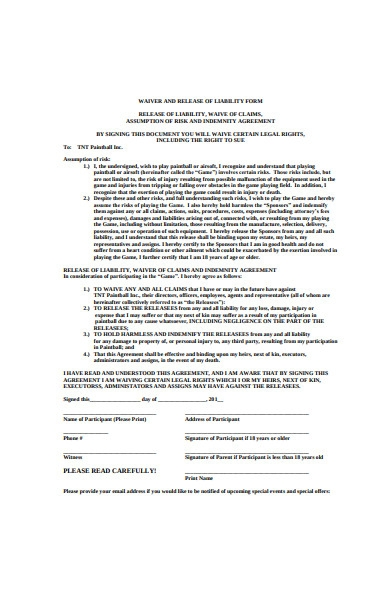 warier and release of liability form sample
