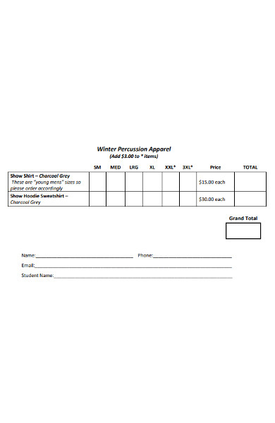 winter percussion apparel order form
