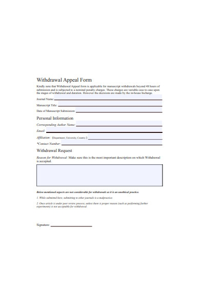 withdrawal appeal form