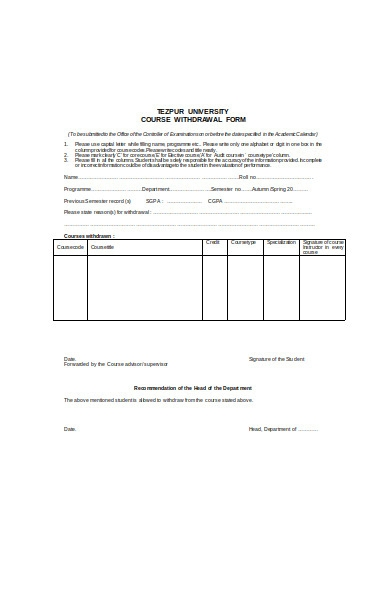 withdrawal form in doc