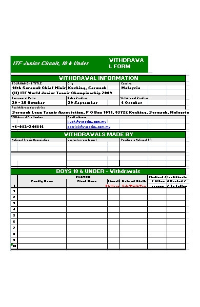 withdrawal information form