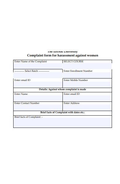 women harassment complaint form