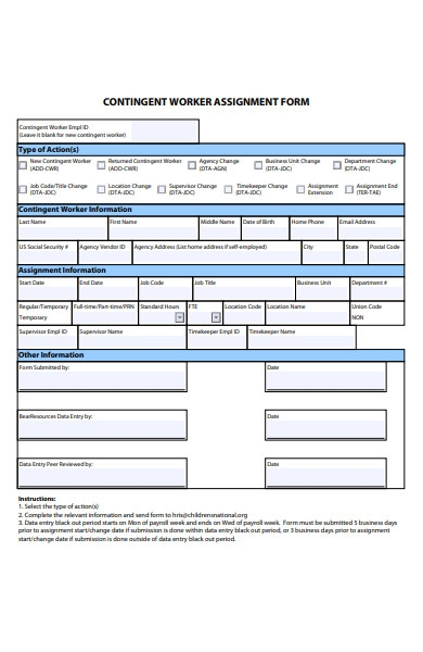 worker assignment form