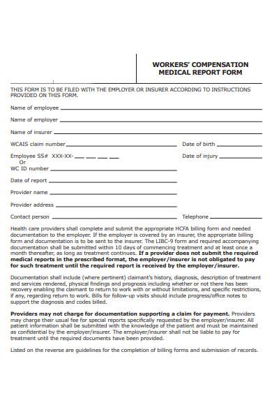 worker compensation medical report form
