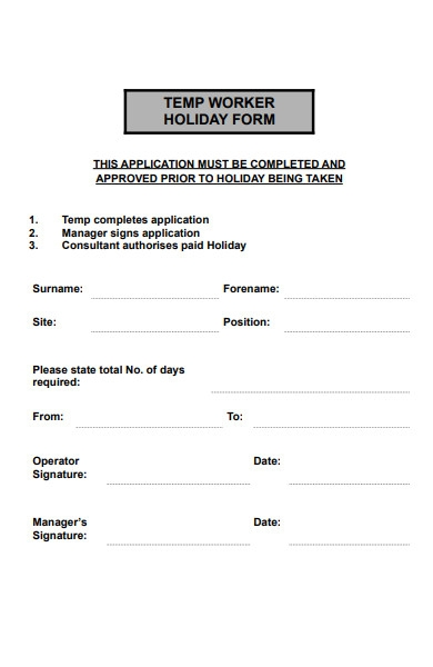 worker holiday form