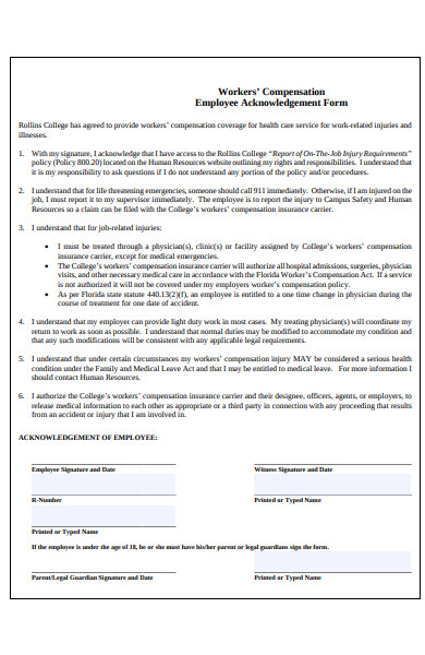 workers compensation acknowledgement form