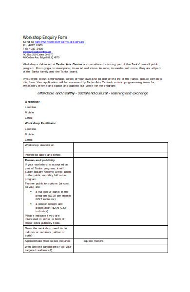 workshop enquiry form