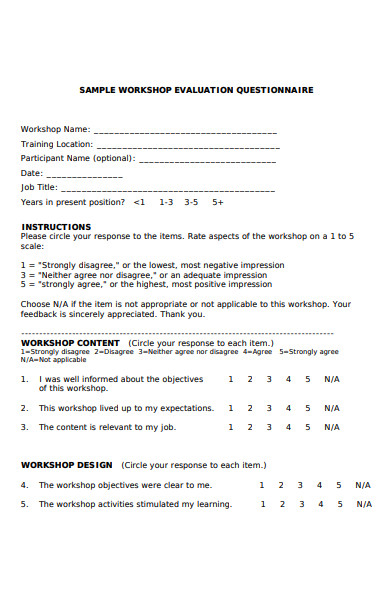 workshop evaluation questionnaire form