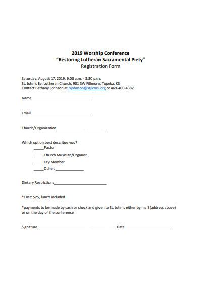 worship conference registration form